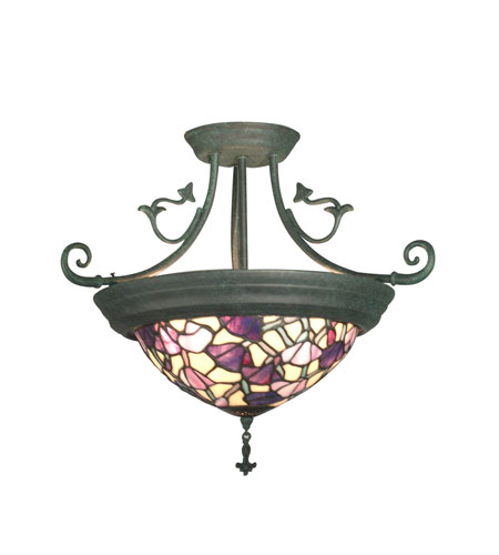 Dale Tiffany Pink Floral Hanging Fixture 4 Light in Verdigris TH10965 photo
