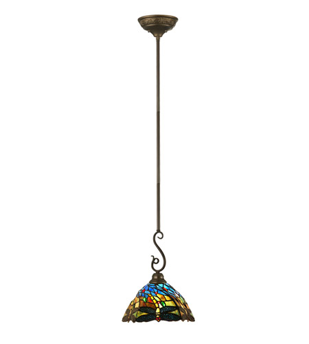 Dale Tiffany TH11195 Dragonfly 1 Light 12 inch Antique Bronze Paint Mini Pendant Ceiling Light photo