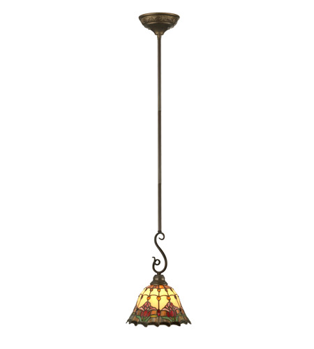 Dale Tiffany Jeweled Floral Mini Pendant 1 Light in Antique Bronze Paint TH11197 photo