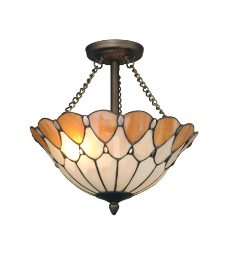 Dale Tiffany Scalloped Jeweled Semi Flush Mount 2 Light in Antique Bronze Paint TH11202 photo