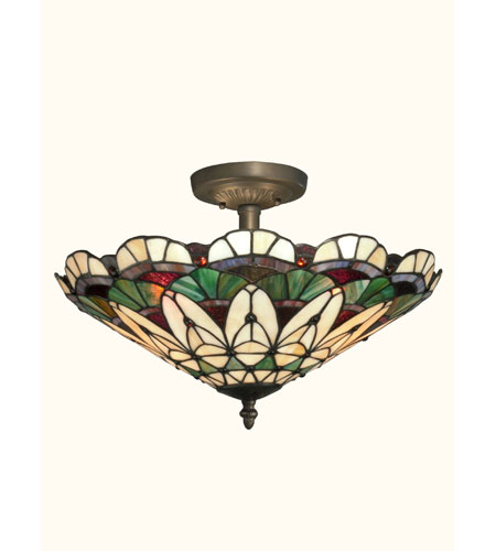 Dale Tiffany Peacock Tiffany Semi Flush Mount 3 Light in Antique Bronze Paint TH12063 photo
