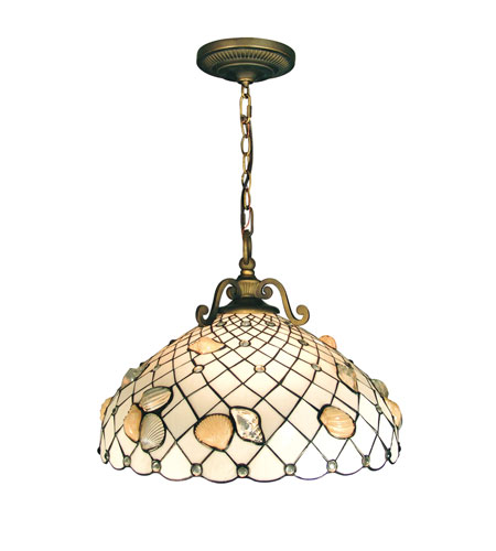 Dale Tiffany Shell 3 Light Pendant in Antique Brass TH50007 photo