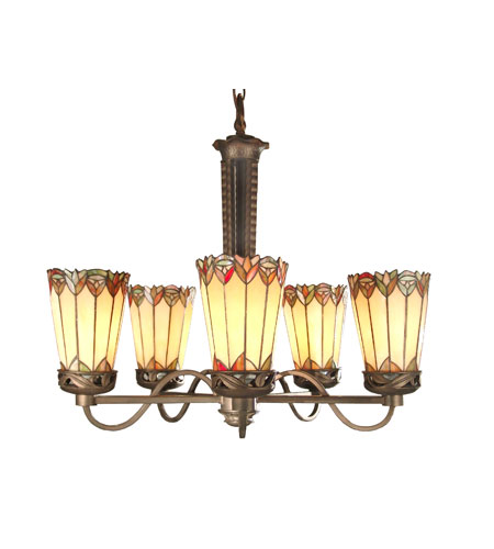 Dale Tiffany Alvarez Tiffany Chandelier 5 Light in Antique Bronze Paint TH50113 photo