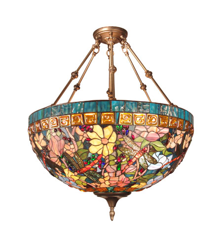 Tiffany Hanging Light Fixtures Tiffany 3 Light 24 Inch Antique Brass Hanging Fixture Ceiling Light