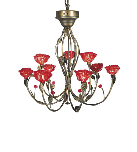 Dale Tiffany Red Rose 9 Light Chandelier In Antique Brass