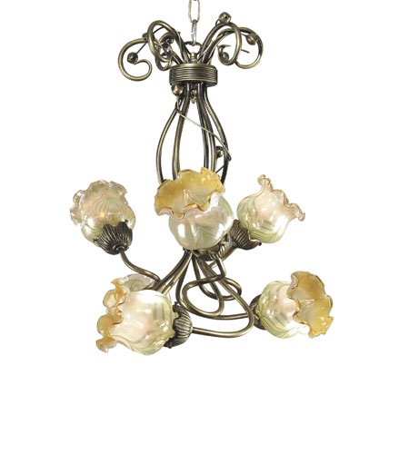 Dale Tiffany Windsor Tulip 6 Light Chandelier in Antique Brass TH70043 photo