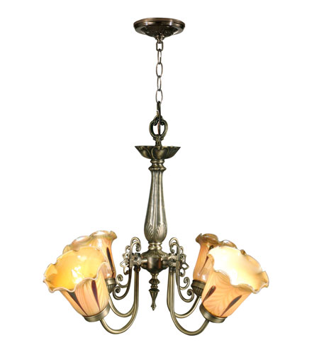 Dale Tiffany TH70240 Columbus Tulip Art Glass 4 Light 22 inch Antique Brass Hanging Fixture Ceiling Light photo