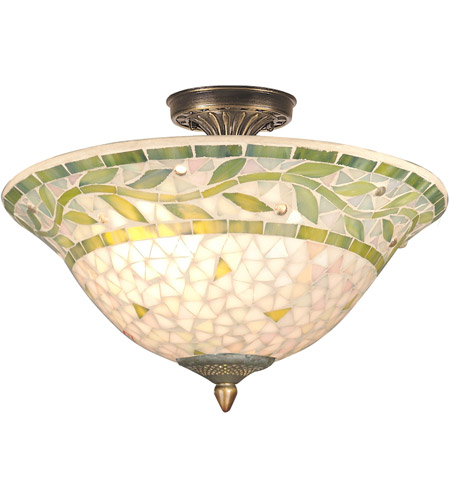 Dale Tiffany Mosaic 3 Light Semi-Flush Mount in Antique Brass TH70655 photo