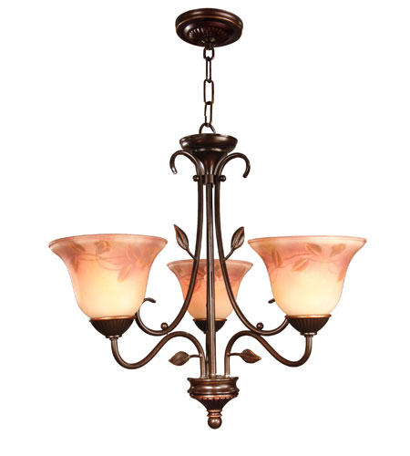 Dale Tiffany Leaf Vine Handpainted Chandelier 3 Light in Antique Golden Sand TH80481 photo