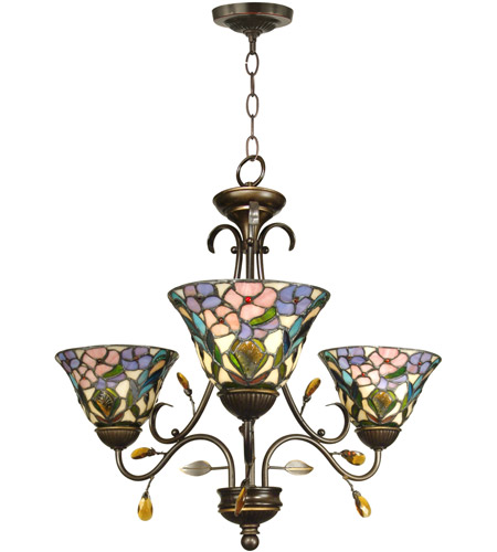 Dale Tiffany TH90214 Crystal Peony 3 Light 24 inch Antique Golden ...