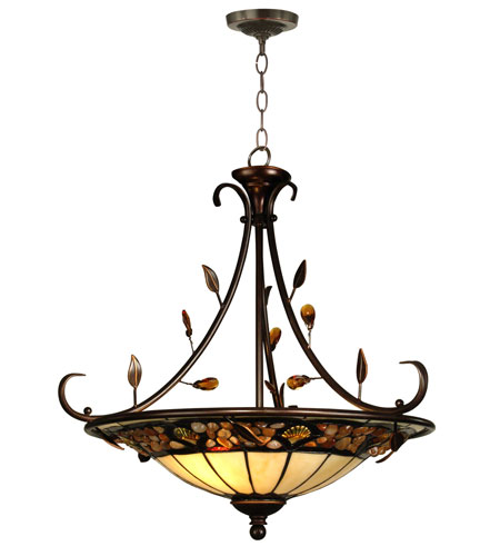 Dale Tiffany Pebblestone Inverted Hanging Fixture 2 Light in Antique Golden Sand TH90227 photo