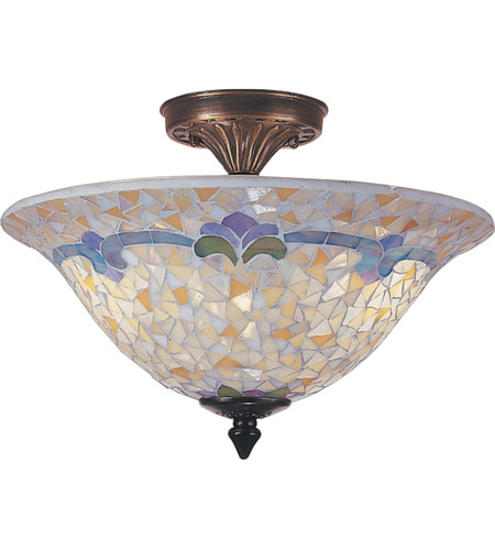 Dale Tiffany TM100553 Johana Mosaic 3 Light 14 inch Antique Brass  Flush Mount Ceiling Light photo