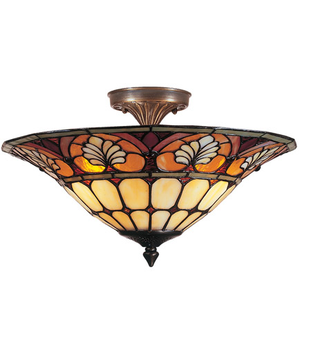 Dale Tiffany TM100598 Dylan Tifffany 3 Light 16 inch Antique Brass Plating Flush Mount Ceiling Light photo