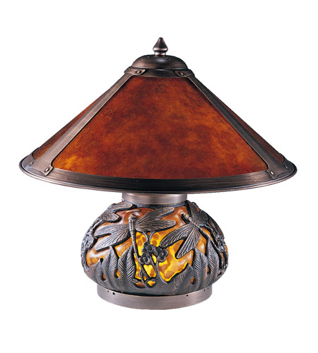 Dale Tiffany Dragonfly Mica 2+1 Light Table Lamp in Chocolate Bronze TT100162 photo