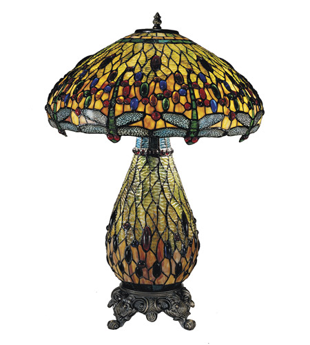 Dale Tiffany TT100273 Jeweled Dragonfly 24 inch 60 watt Antique Brass  Table Lamp Portable Light  photo