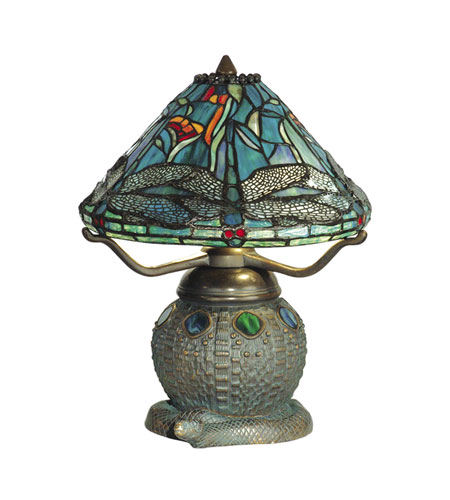 Dale Tiffany Dragonfly Replica Table Lamp 2 Light in Dark Antique Bronze Verde Grn TT10033 photo