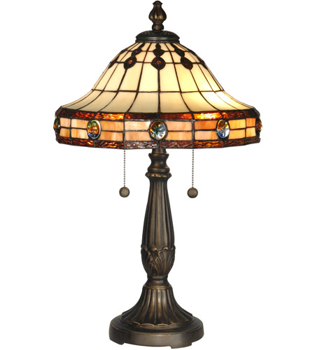 Dale Tiffany Jeweled Mission Table Lamp 2 Light in Antique Golden Sand TT10034 photo