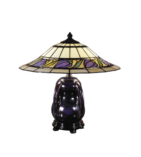 Dale Tiffany Reiko Ceramic Table Lamp 2 Light in Blue/Purple Glaze TT100507 photo