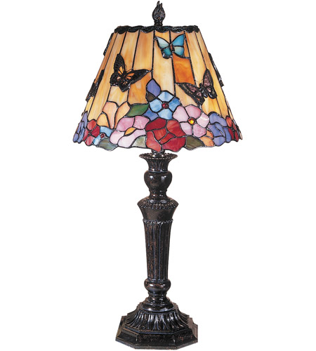 Dale Tiffany TT100587 Butterfly and Peony Tiffany 24 inch 40 watt Fieldstone Table Lamp Portable Light
