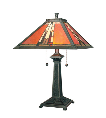 Dale Tiffany TT100716 Amber Monarch 24 inch 60 watt Mica Bronze Table Lamp Portable Light photo