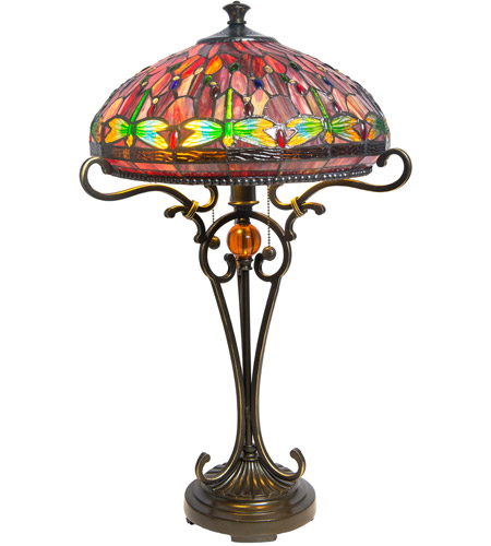 Dale Tiffany TT10095 Dragonfly 24 inch 60 watt Antique Golden Sand Table Lamp Portable Light photo