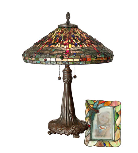 Dale Tiffany Dragonfly Table Lamp & 4X6 Picture Frame Set 2 Light in Antique Bronze Paint TT100953 photo