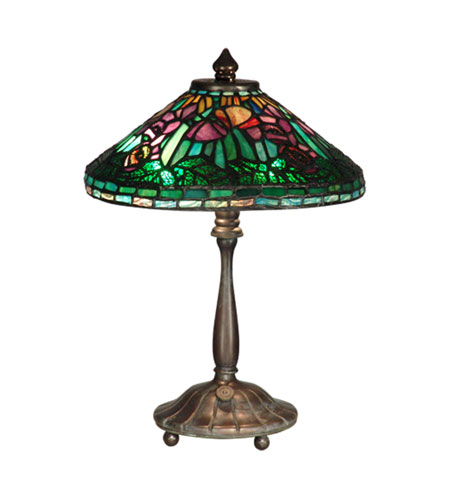 Dale Tiffany Poppy Shade Table Lamp 2 Light in Antique Verde TT10332 photo