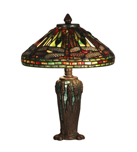 Dale Tiffany Dragonfly Jewel Tiffany Table Lamp 2 Light in Antique Bronze/Verde TT10333 photo