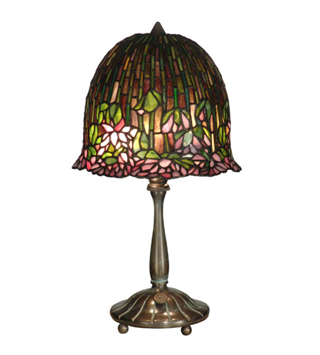 Dale Tiffany Tiffany Lotus Flower Table Lamp 2 Light in Antique Verde TT10336 photo