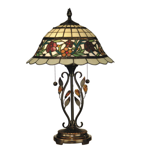 Dale Tiffany Greenfield Table Lamp 2 Light in Antique Bronze TT10337 photo