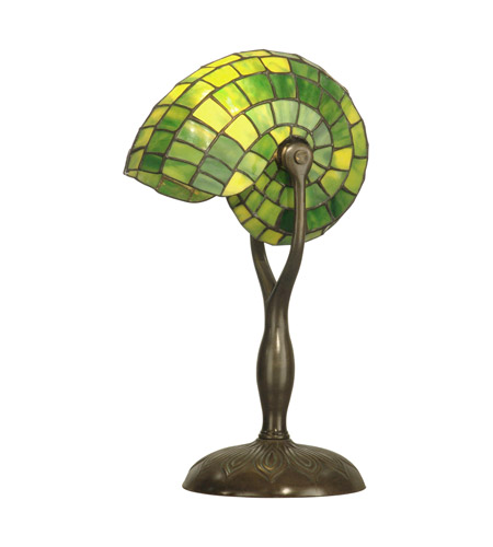 Dale Tiffany TT10345 Green Nautilus 18 inch 60 watt Antique Verde Table Lamp Portable Light photo