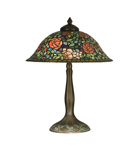 Dale Tiffany Tiffany Rose Garden Table Lamp 2 Light in Antique Verde TT10351 photo