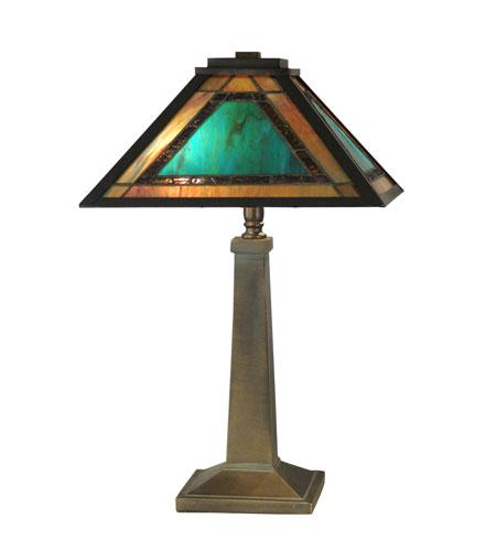 Dale Tiffany Brea Tiffany Mission Table Lamp 2 Light in Antique Verde TT10499 photo