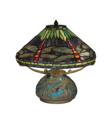 Dale Tiffany Dragonfly On Shade & Base Table Lamp 3 Light in Antique Bronze Plating TT10518 photo