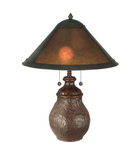 Dale Tiffany Mica Round Base Table Lamp 2 Light in Antique Bronze Paint TT10608 photo