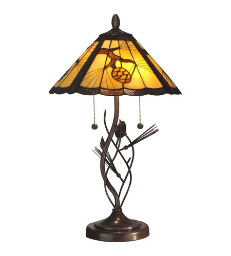 Dale Tiffany Ponderosa Table Lamp 2 Light in Walnut TT10749 photo
