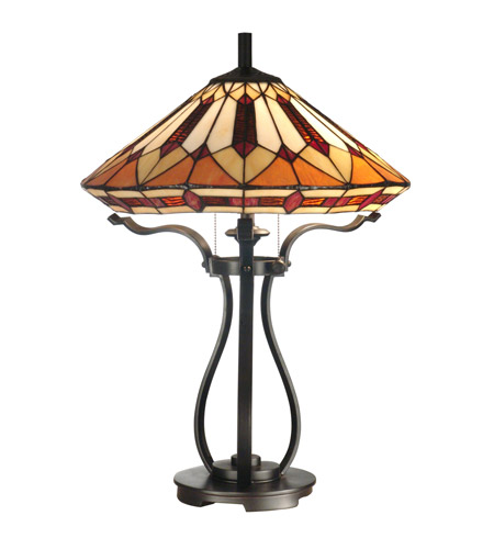 Dale Tiffany Harp Tiffany Table Lamp 2 Light in Black TT10791 photo