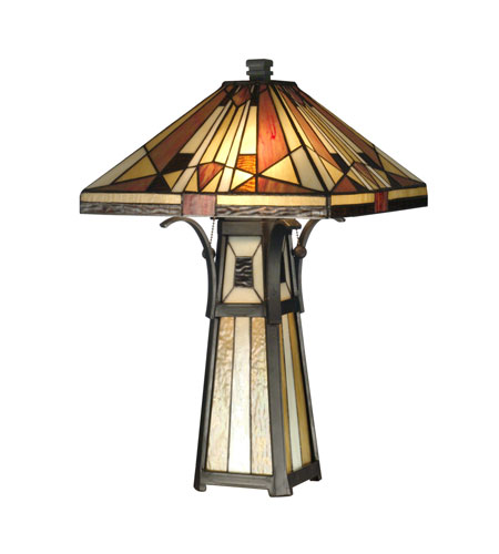 Dale Tiffany Mission Shade & Base Table Lamp 3 Light in Black TT10792 photo