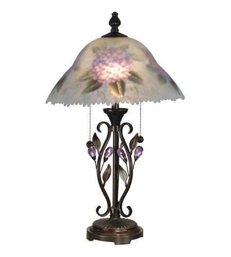 Dale Tiffany Hand Painted Purple Flower Table Lamp 2 Light in Antique Golden Sand TT10796 photo