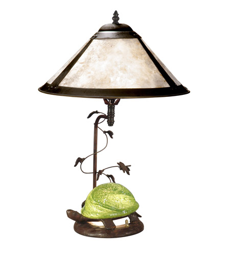 Dale Tiffany Mica Green Turtle Table Lamp 2 Light in Antique Bronze Paint TT10840 photo