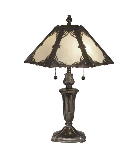 Dale Tiffany Prestine Panel Tiffany Table Lamp 2 Light in Fieldstone TT10843 photo