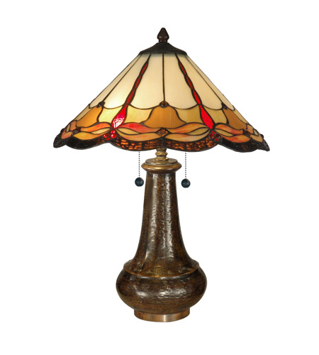Dale Tiffany Tiffany Jewels Table Lamp 2 Light in Antique Bronze Paint TT11019 photo