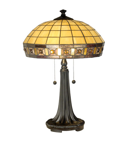Dale Tiffany Jewel Squre Panel Tiffany Table Lamp 2 Light in Dark Antique Bronze TT11028 photo