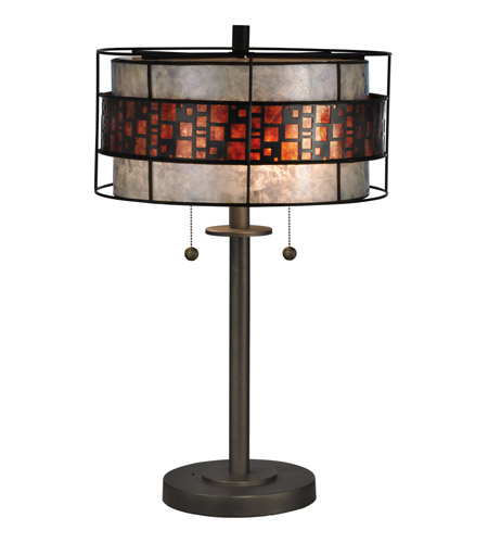 Dale Tiffany Tt13199 Cobblestone 23 Inch 60 Watt Dark Bronze Table