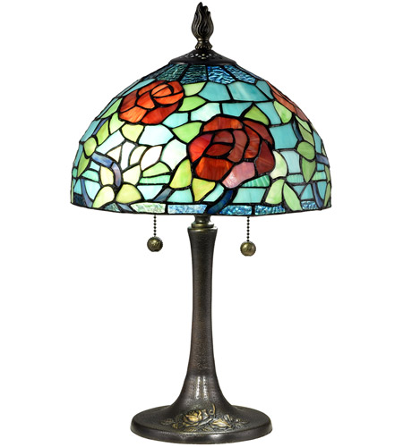 Dale Tiffany TT18183 Crimson Rosette 20 inch 75 watt Antique Brass Table Lamp Portable Light