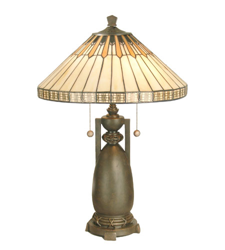 Dale Tiffany Augusta Table Lamp 2 Light in Antique Bronze Paint TT60257 photo