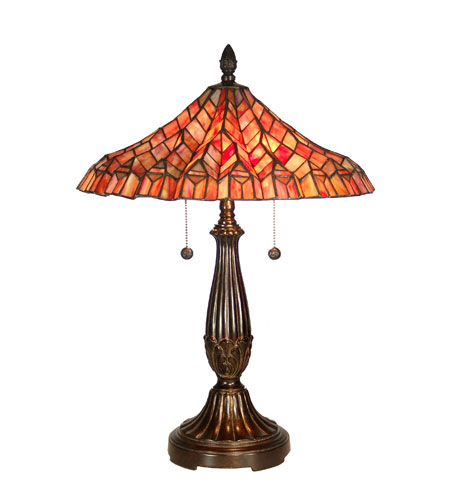 Dale Tiffany Red Lotus 2 Light Table Lamp in Fieldstone TT60753 photo