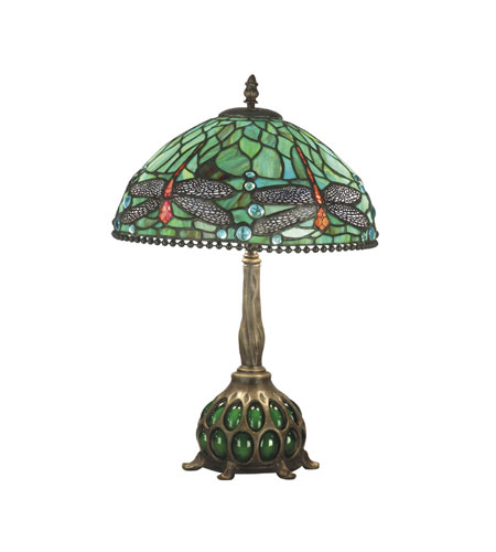 Dale Tiffany TT60919 Dragonfly 19 inch 40 watt Antique Bronze/Verde Table Lamp Portable Light photo