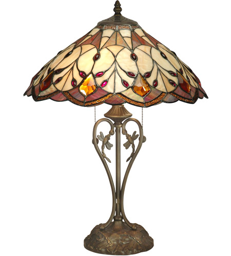 Dale Tiffany TT70699 Marshall 24 inch 60 watt Antique Brass Plating Table Lamp Portable Light photo