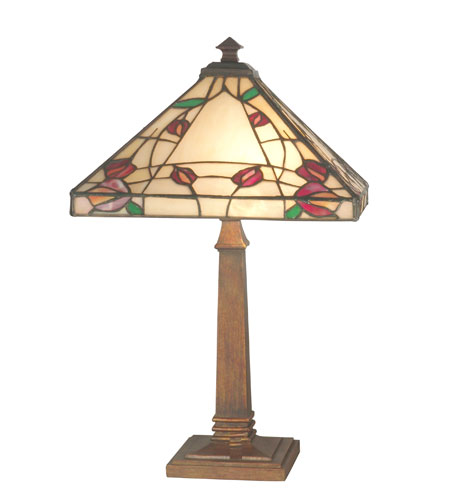 Dale Tiffany Rose Mission Table Lamp 1 Light in Antique Brass TT70738 photo